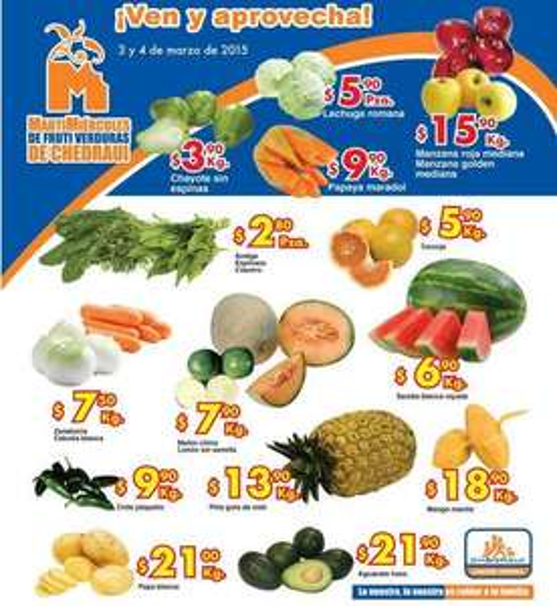 Ofertas de frutas y verduras en Chedraui 3 y 4 de marzo