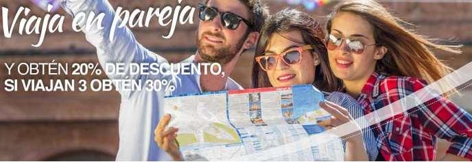 Aeroméxico: 20% de descuento viajando 2 personas o 30% viajando 3 (rutas seleccionadas)