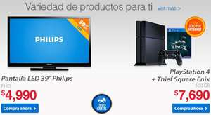"Walmart: PS4 + Thief $7,690, pantalla LED 39"" $4,990 y meses sin intereses"
