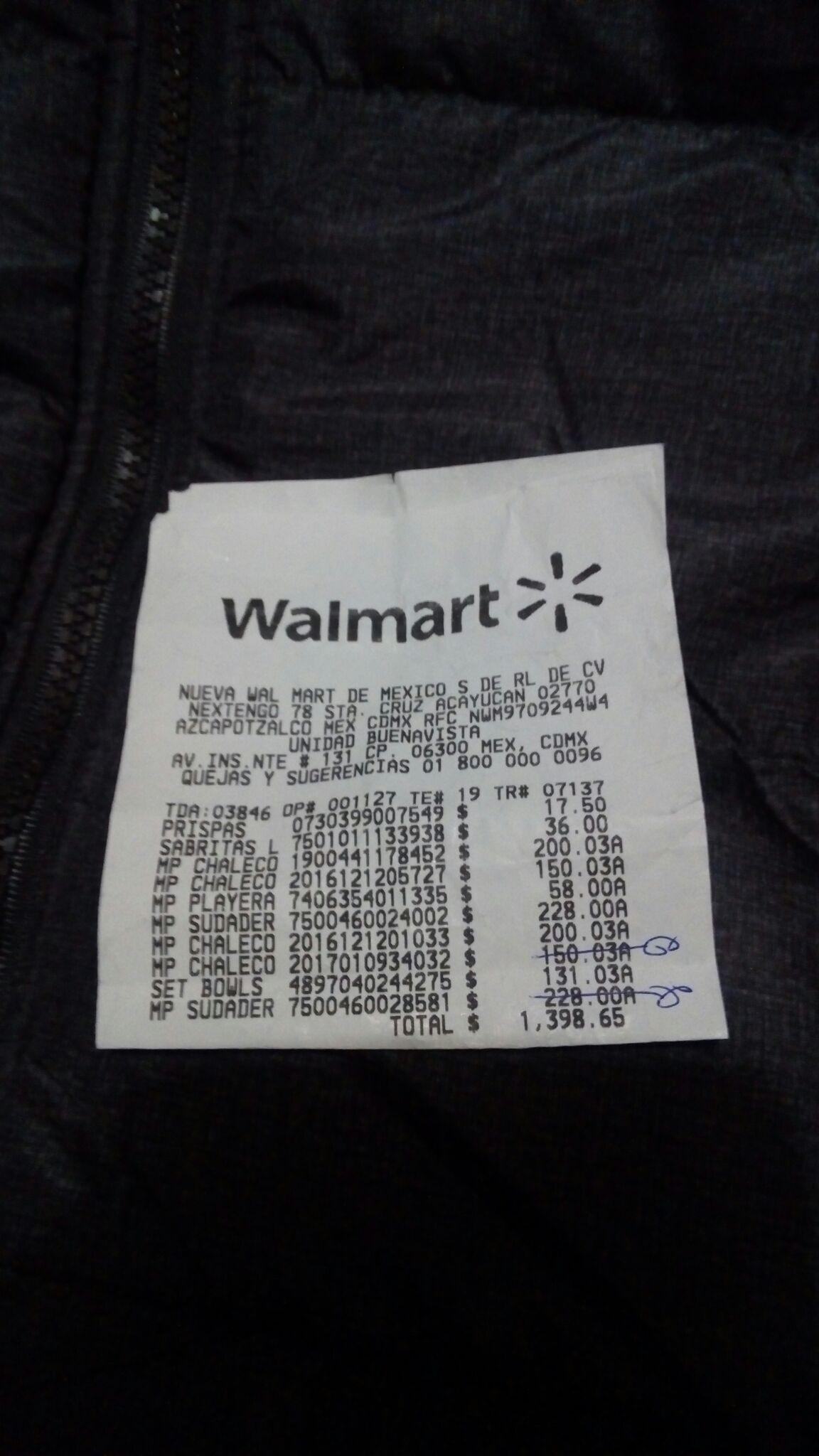 Walmart Buenavista Cdmx: Chalecos 725 a $200.03