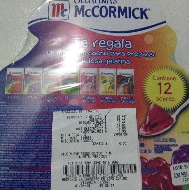Sam's club Delicias, 12 sobres de gelatina mccormick más molde de regalo
