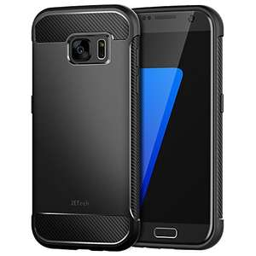Amazon: JETech Funda S7 con Tope Shock- Absorción y Diseño de fibra de carbon para Samsung Galaxy S7, Negro