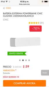 Linio: POWER BANK $59 ENVIÓ GRATIS