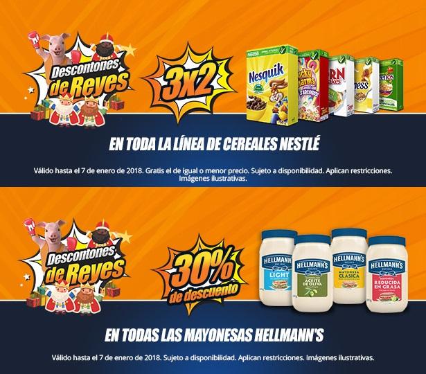 Chedraui: Descontones de Reyes: 3 x 2 en cereales Nestlé... 30% de descuento en mayonesas Hellmann's