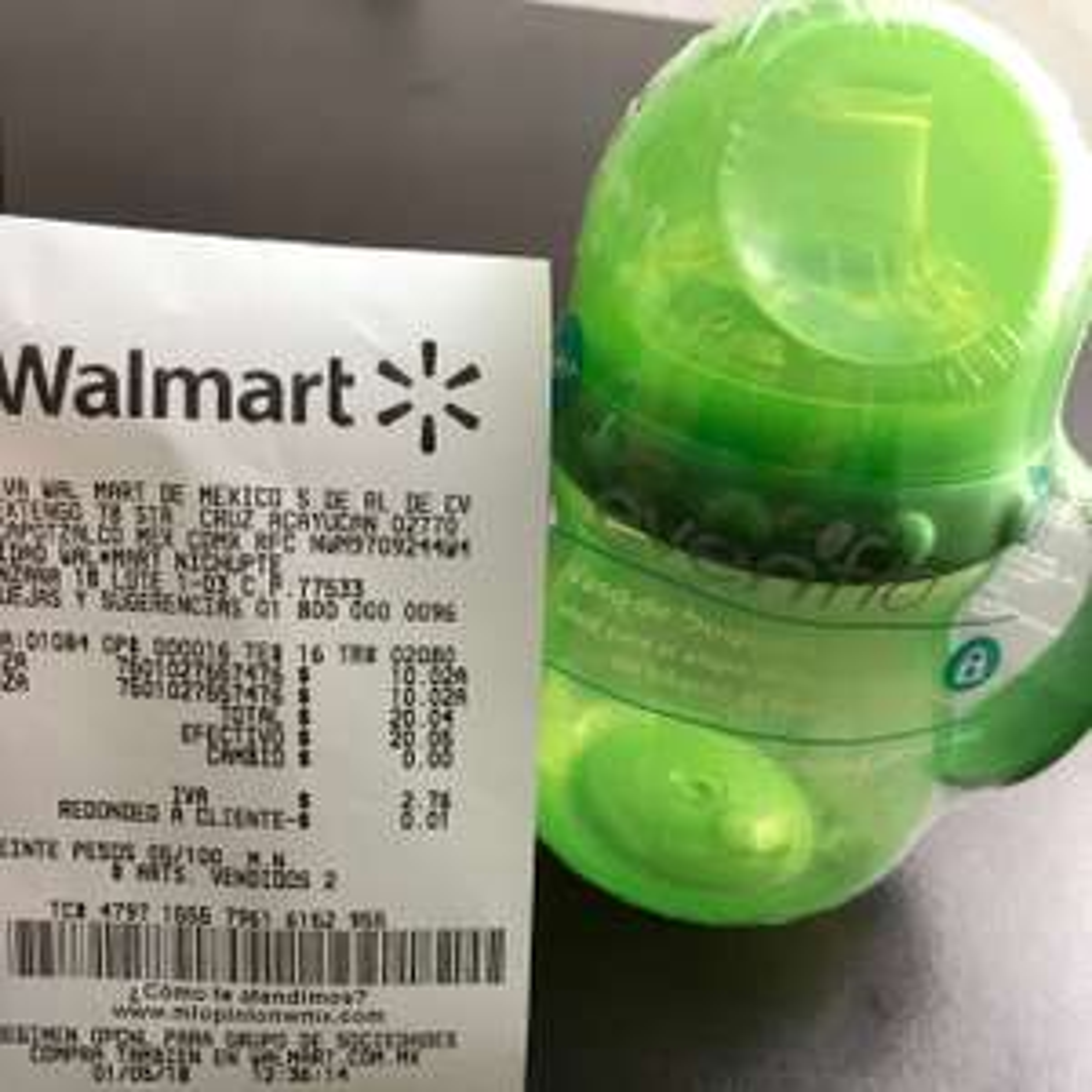 Walmart nichupte cancun: vaso entrenador $10.02
