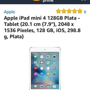 Amazon: Ipad mini 4 128 gb (vendido por un tercero)