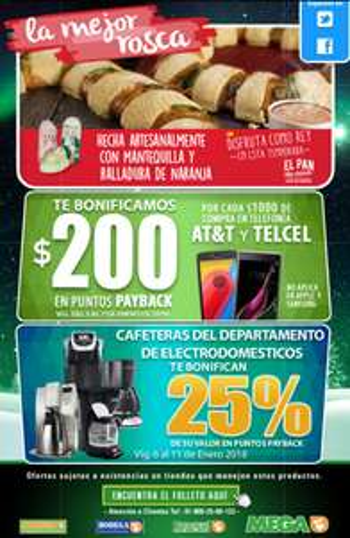 Comercial mexicana y MEGA: Bonificaciones en celulares AT&Y y Telcel y en cafeteras