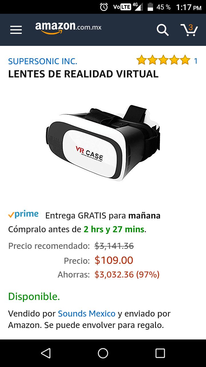 Amazon: Lentes Realidad Virtual a $109