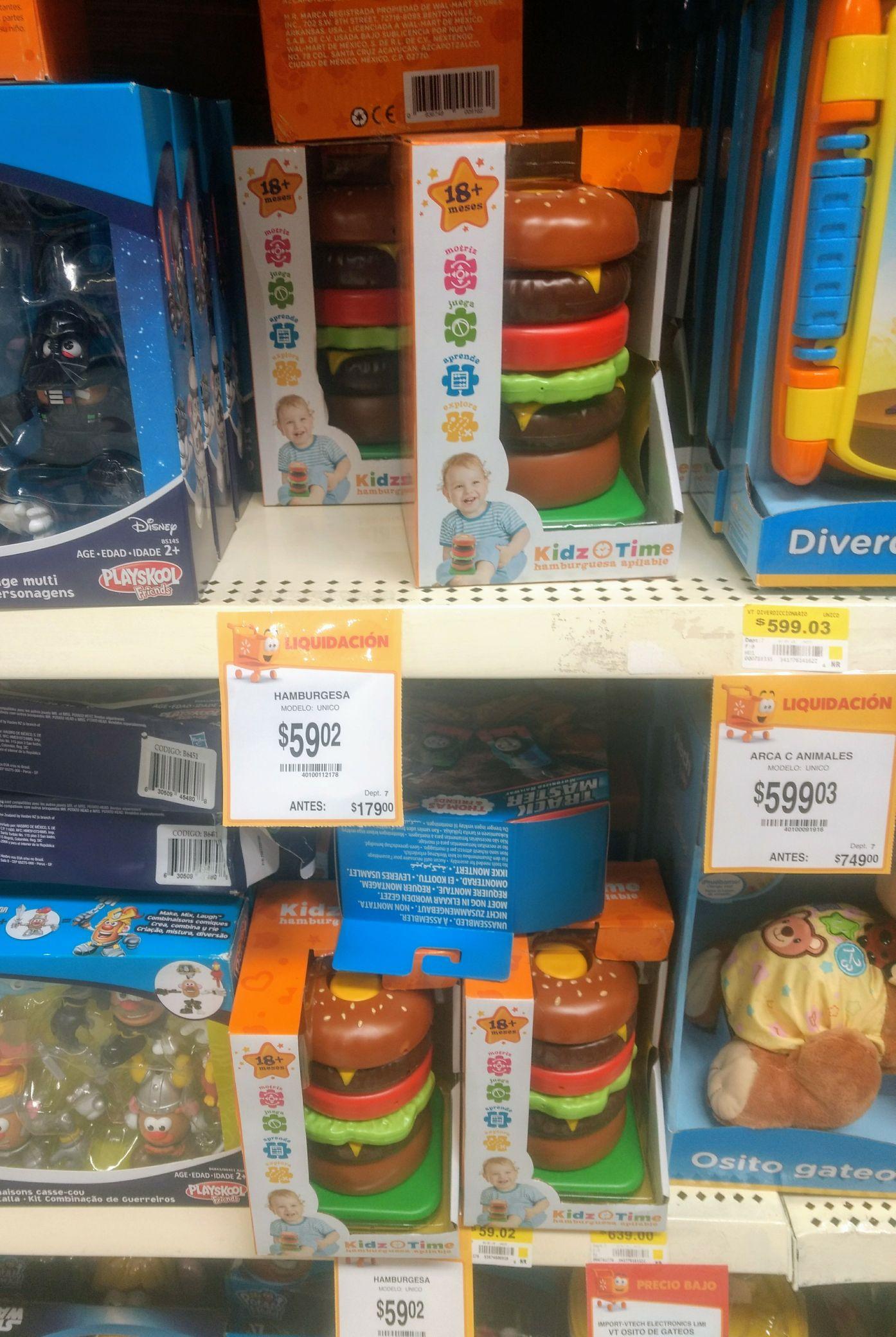 Walmart Miguel Alemán: Hamburguesa apilable, herramienta con sonido y un unicornio