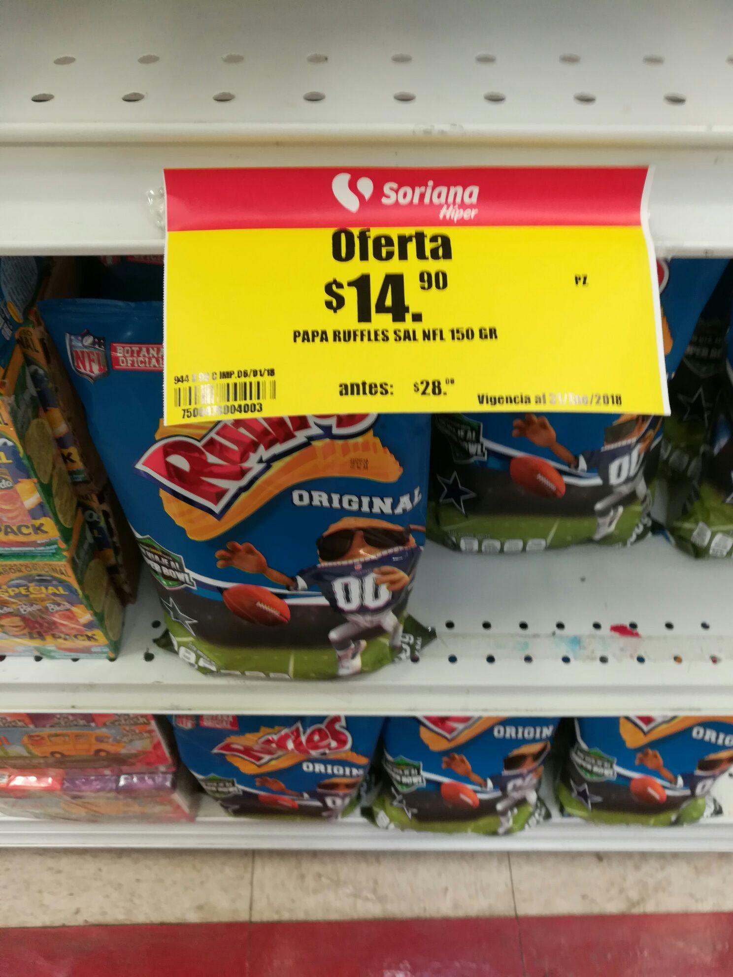 Soriana: Ruffles original 150 grs y rufles hamburguesa 120 grs c/u