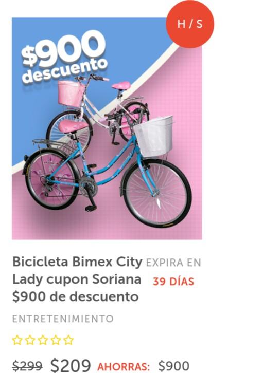 Soriana: Cupón $900 de descuento en Bicicleta Bimex City Lady