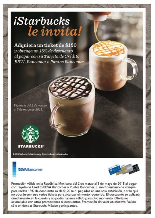 Starbucks: 15% de descuento pagando con Bancomer.