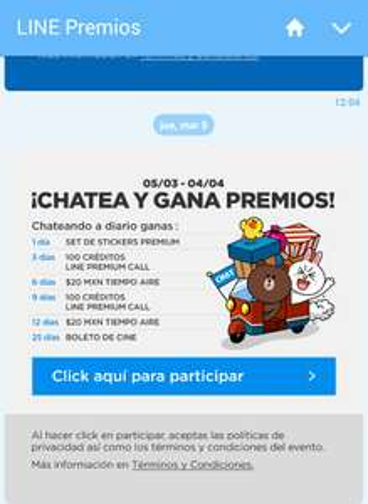 Line: Recargas Gratis usando la app hasta el 4 de abril