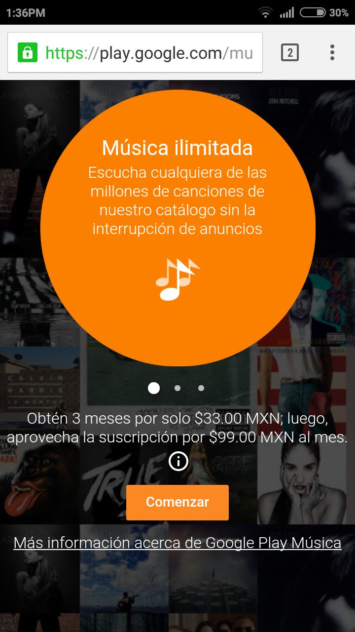 Google Play Music: 3 meses por $33