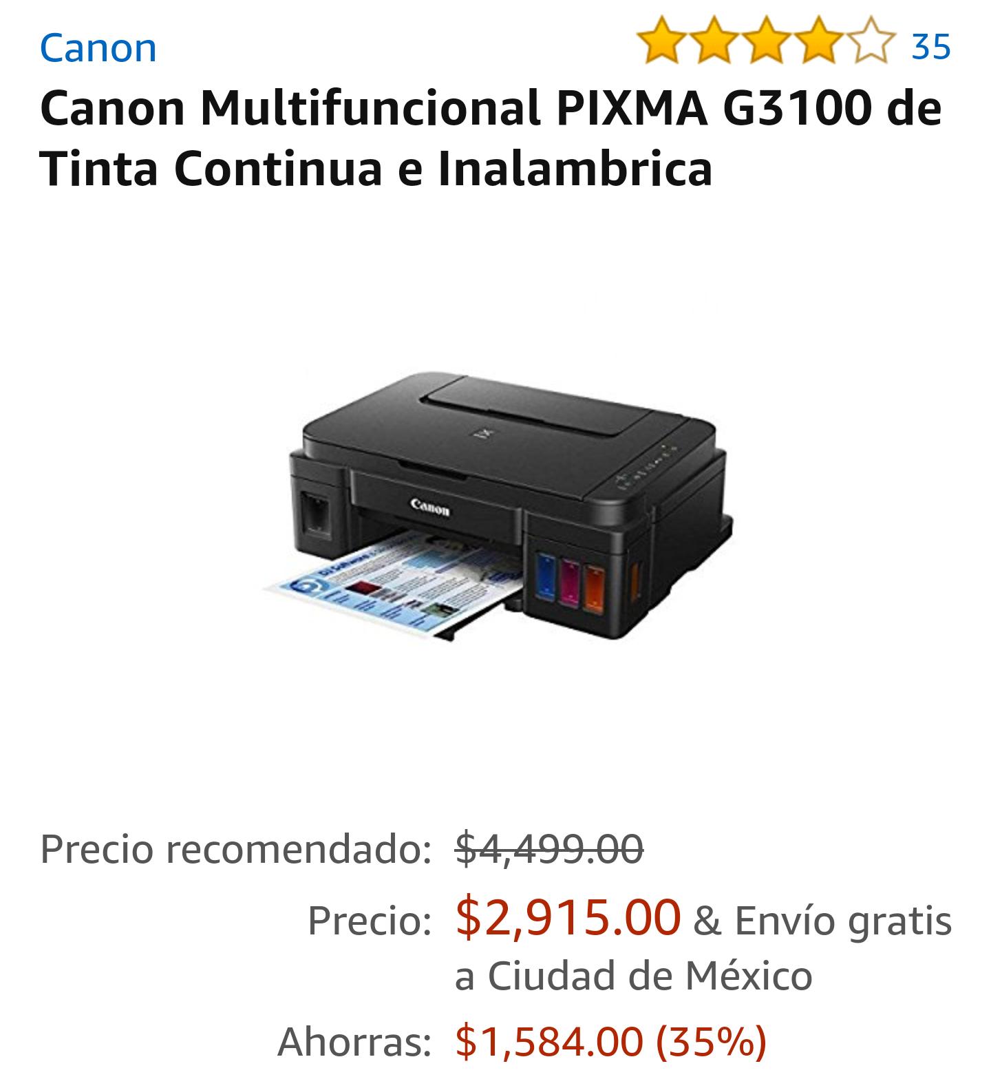 Amazon: Canon Pixma G3100 multifuncional tinta continua