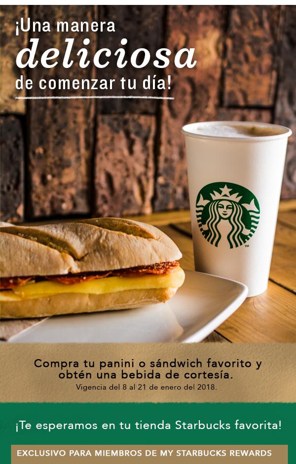 Starbucks: Bebida gratis en la compra de un Panini my starbucks rewards