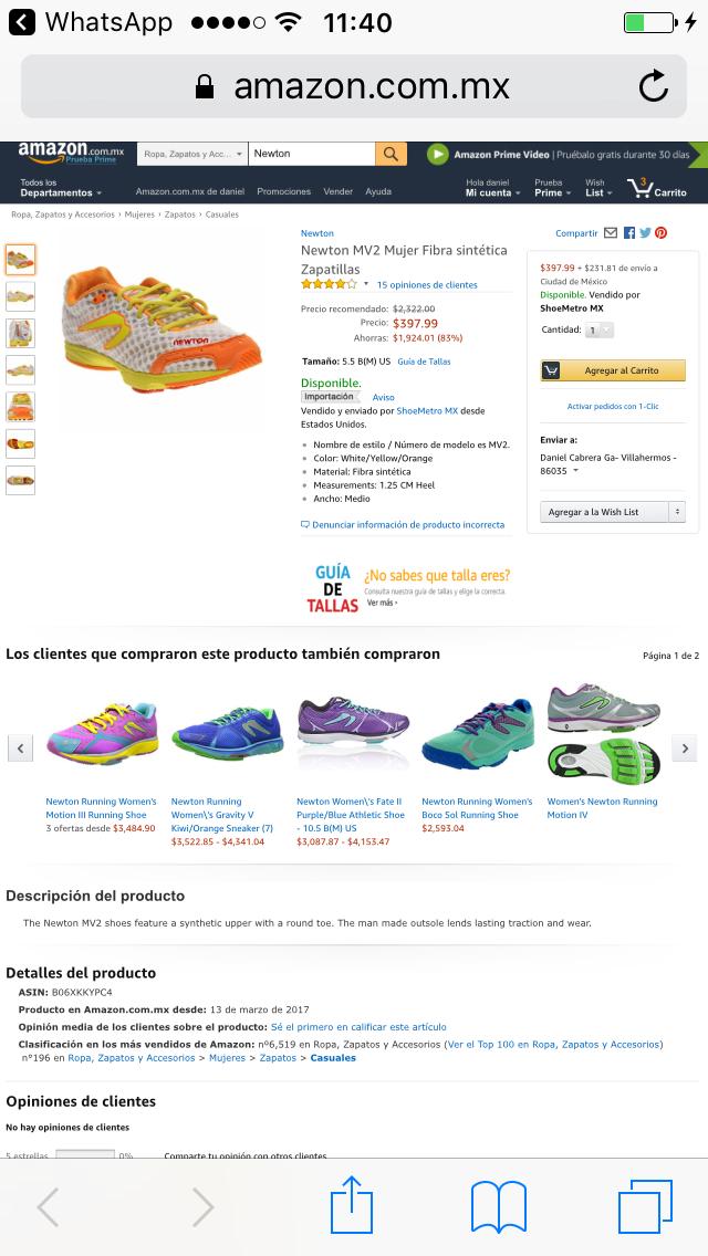 Amazon: Tenis Newton para mujer $600 ya con envío