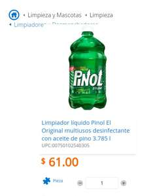 Walmart en linea: 2 pinol 3.785 litro X $ 89