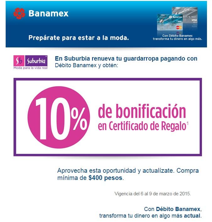 Suburbia 10% de bonificación en certificado de regalo pagando con débito Banamex