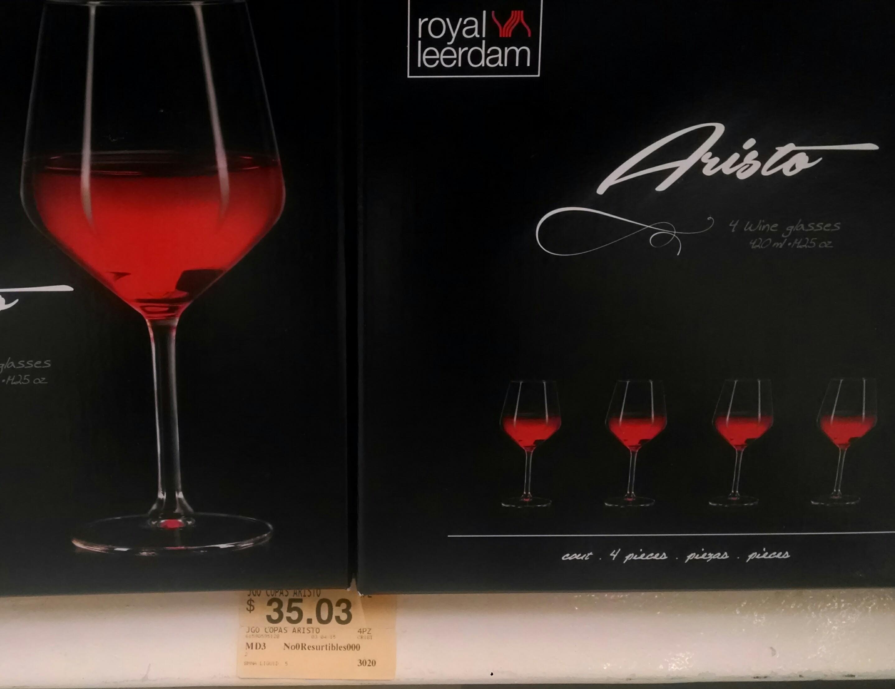 Superama: liquidación 4 copas para vino por $35.03