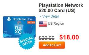 Pcgamesupply: Playstation Network $20.00 Card (US) 10% OFF
