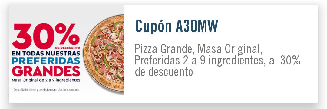 Domino's pizza 30% de descuento en preferidas.