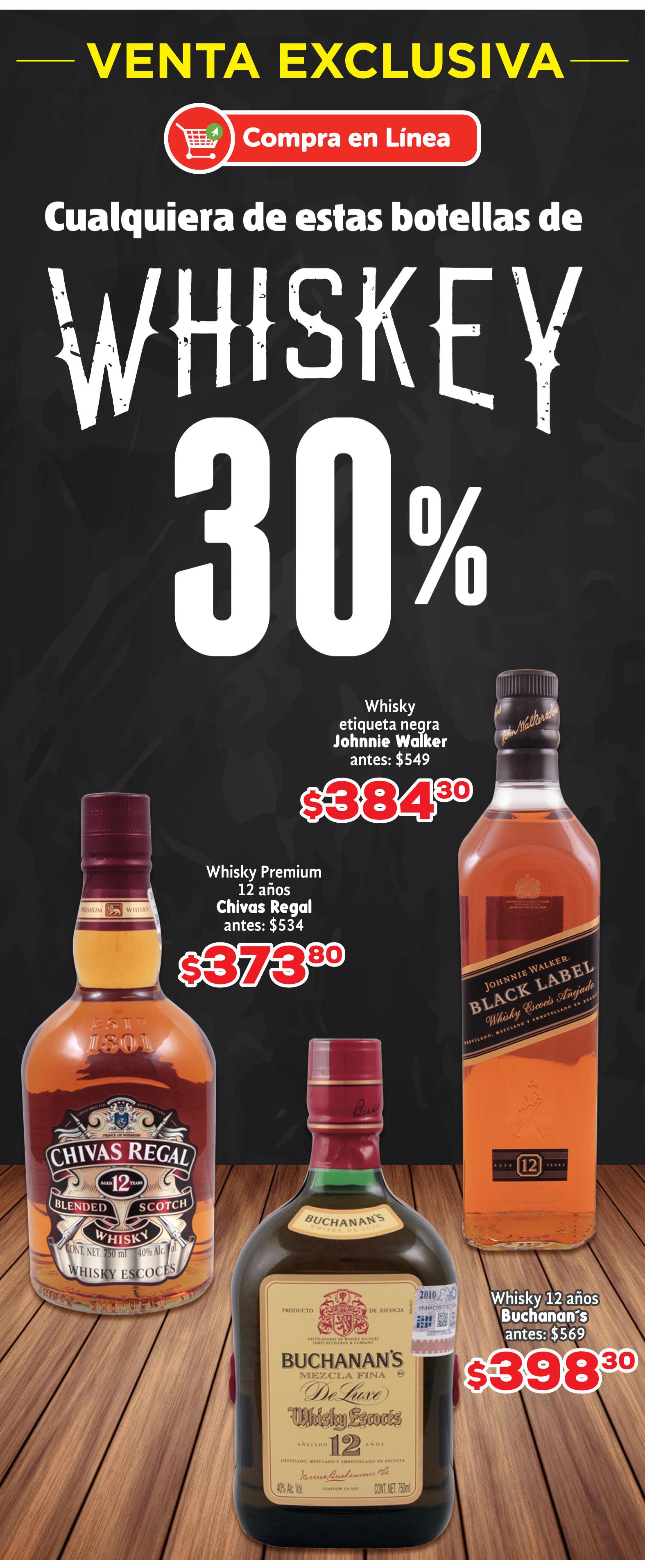 HEB: 30% en whiskey compra en linea