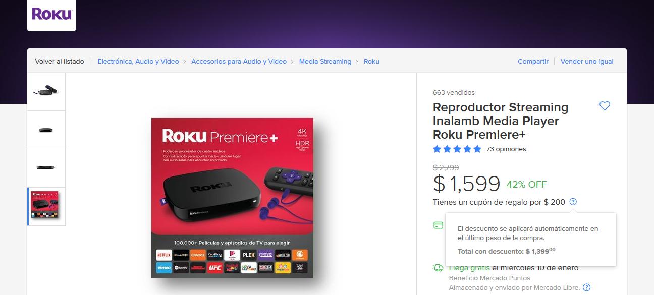Tienda Oficial Roku en Mercado Libre: Roku Premiere+