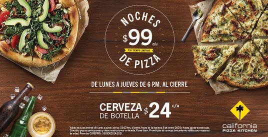 California Pizza Kitchen: Pizzas a $99 y Cerveza a $24  (De lunes a jueves a partir de las 6pm)