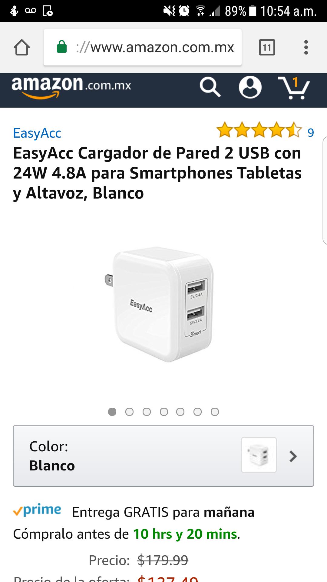 Amazon: EasyAcc Cargador de Pared 2 USB con 24W 4.8A para Smartphones Tabletas y Altavoz, Blanco
