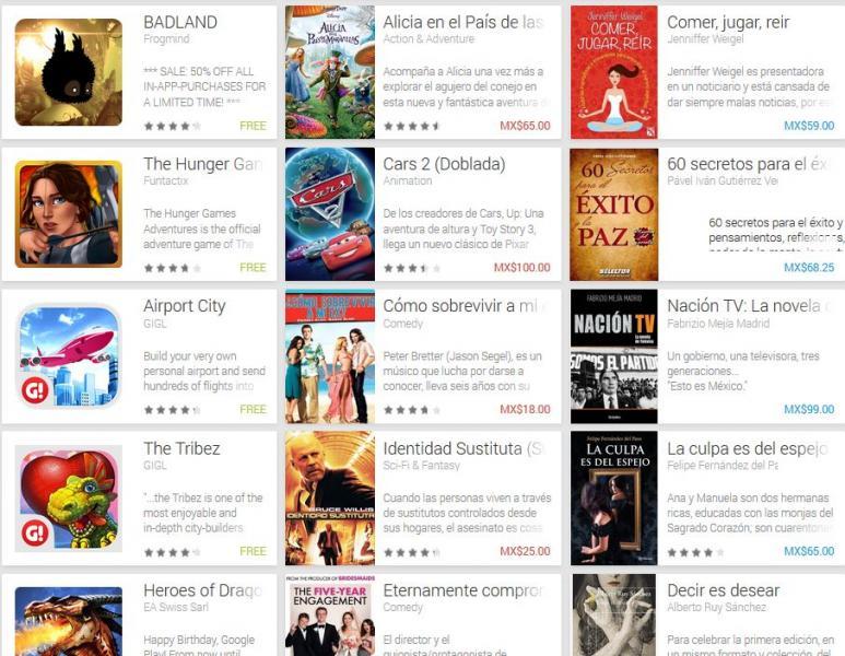 Aniversario Google Play: Enredados o Cars 2 $100, Alicia en el País de las Maravillas $65 y +