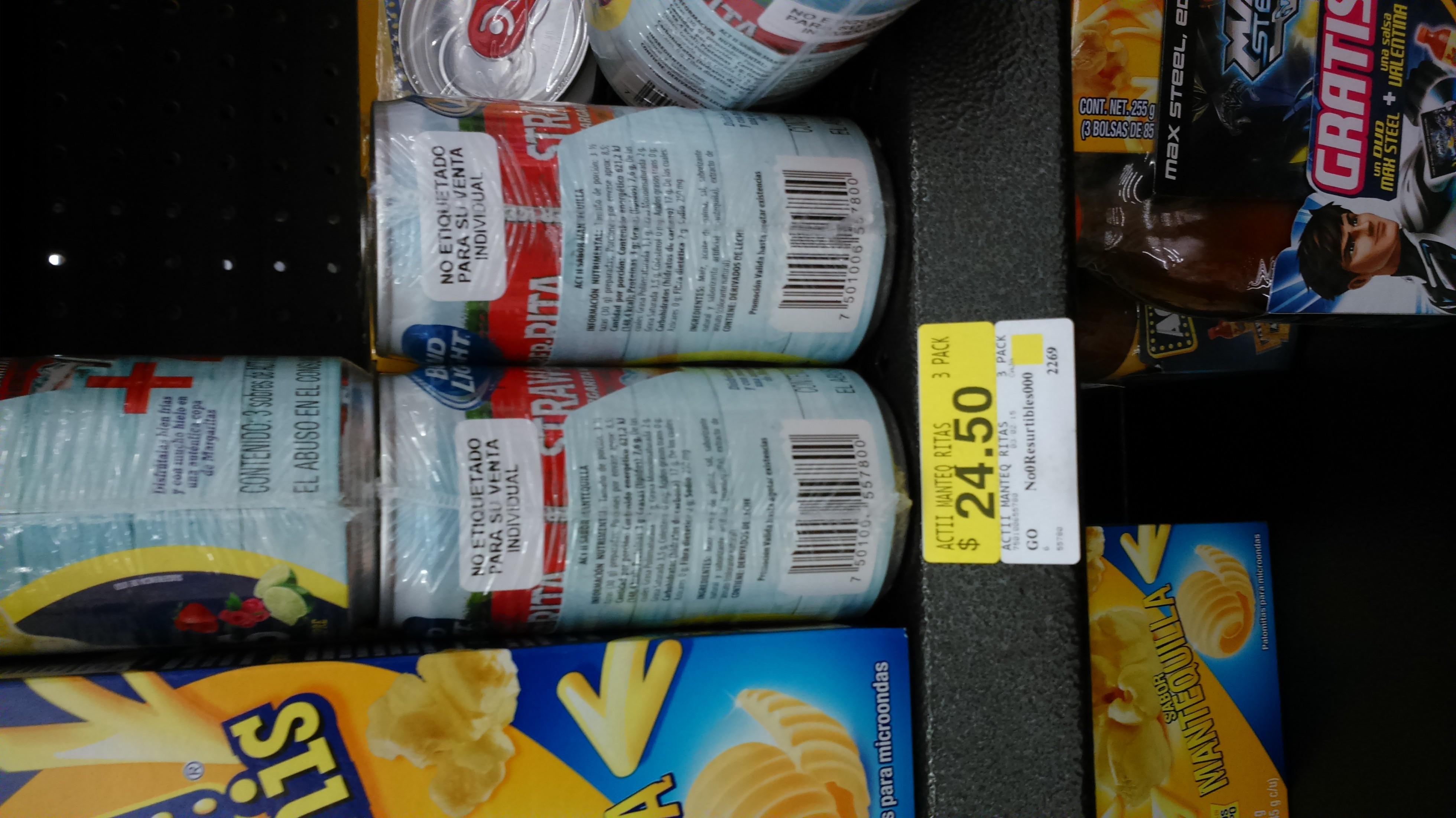 Walmart: paquete 3 bolsas de palomitas y 2 ritas de bud light $24.50