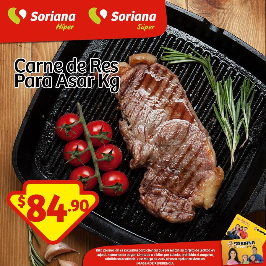 Soriana: carne de res para asar $84.90