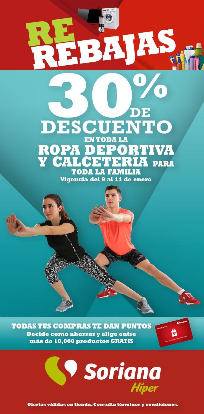 Soriana Híper: 30% de descuento en toda la ropa deportiva y calcetería para toda la familia