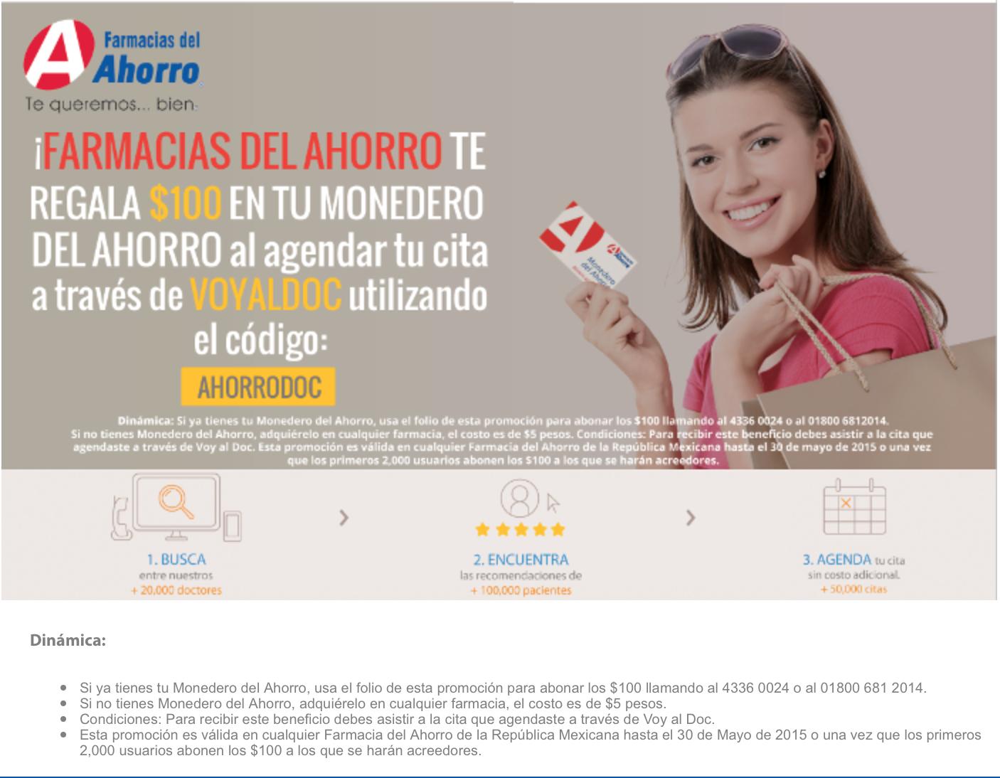 Farmacias del ahorro: $100.00 en monedero del ahorro al agendar cita en VOYALDOC