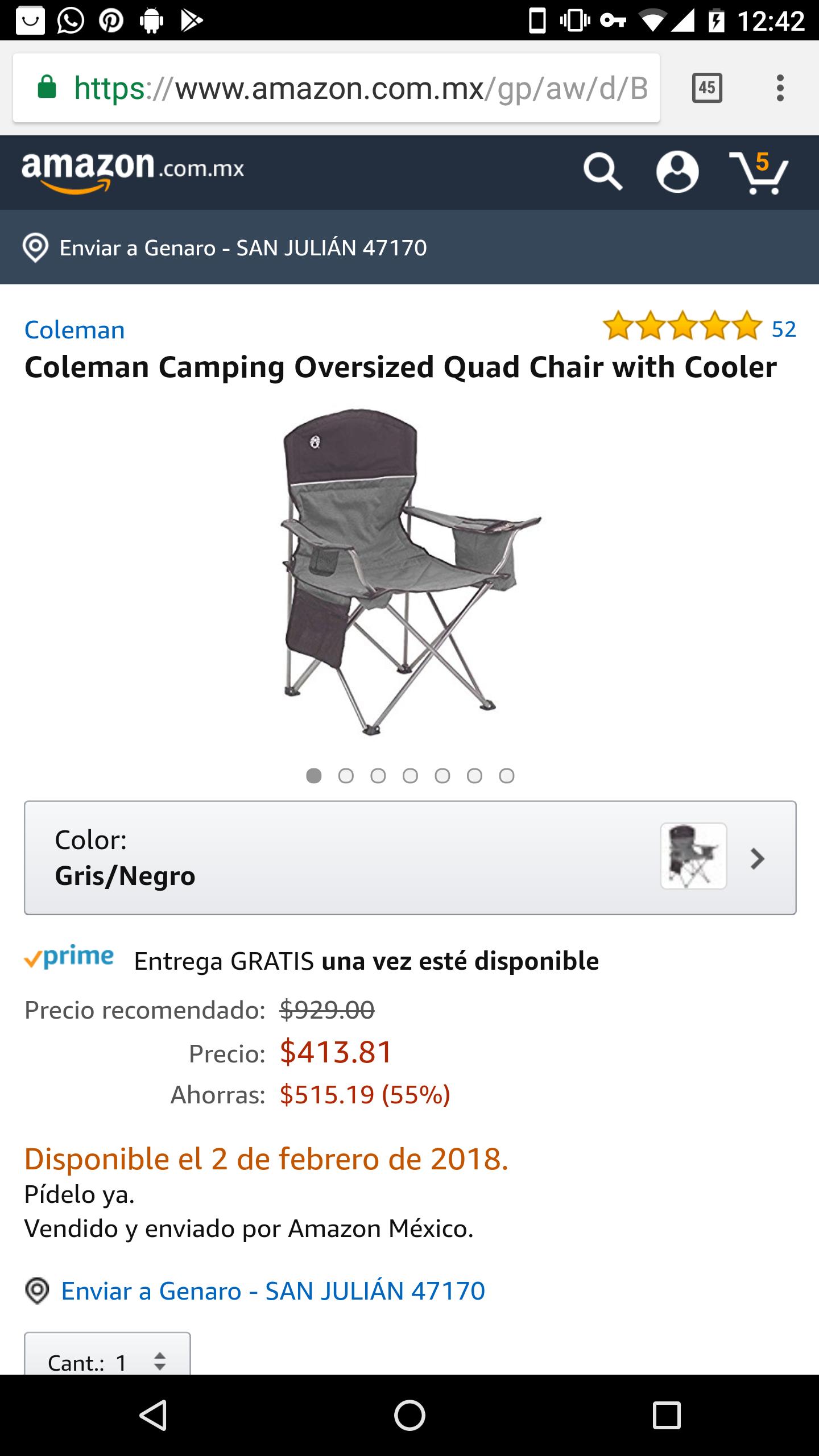 Amazon: Silla Coleman con cooler para las chelas
