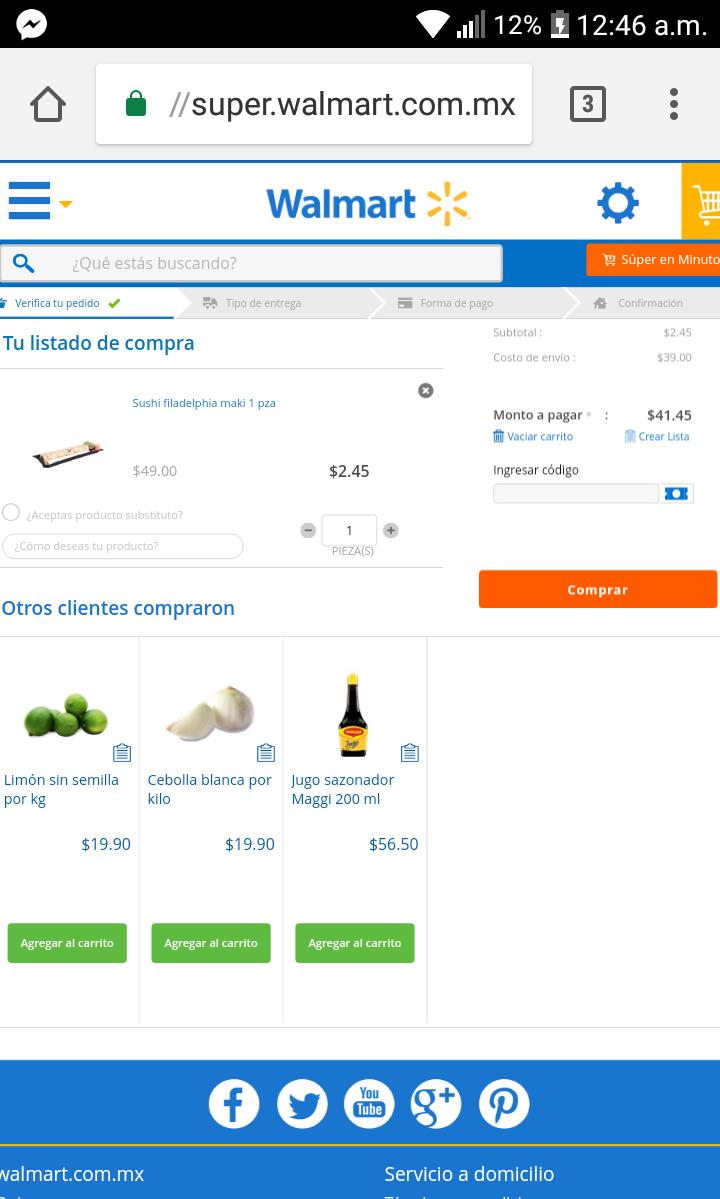 Walmart en línea: Sushi filadelphia maki 1 pza  en $2.44