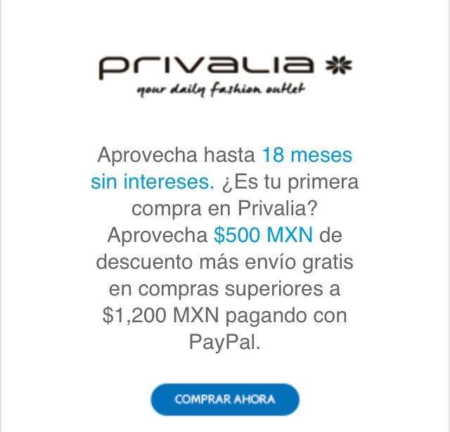 Privalia: $500 de descuento en compras mínimas de $1,200 y envio gratis con Paypal (Sólo usuarios nuevos)