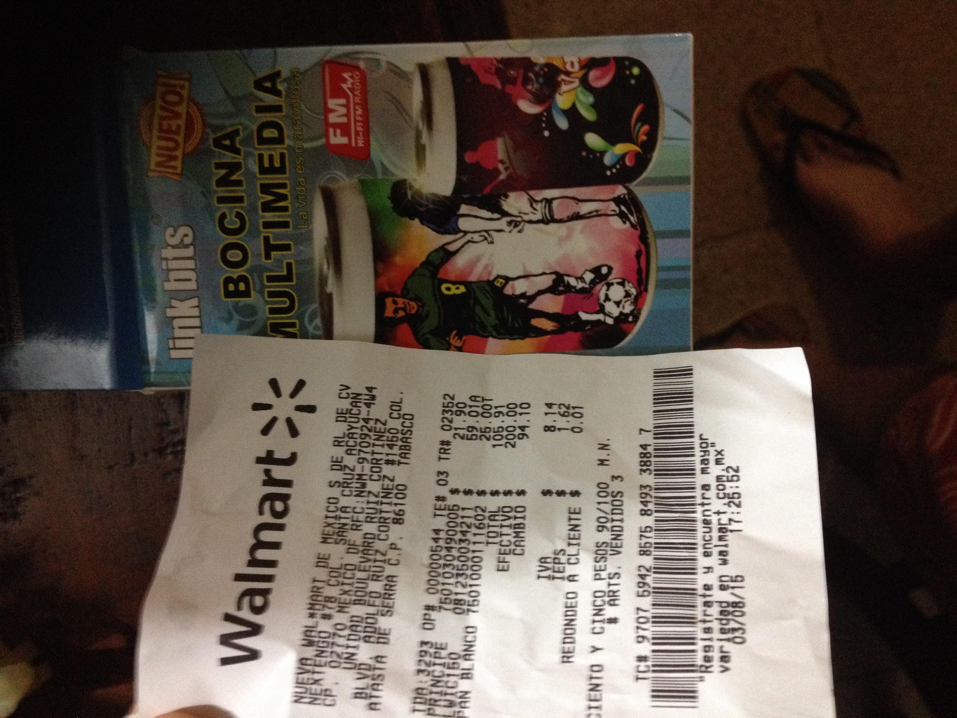 Walmart: Bocina portátil $59.01