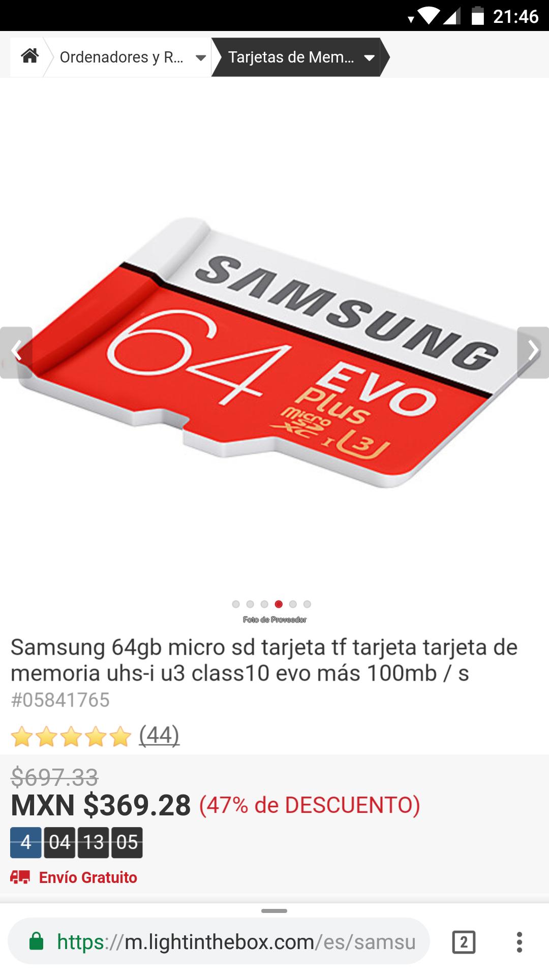 LightInTheBox: Memoria MicroSD Samsung 64 GB EVO Plus