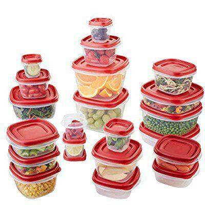 Amazon: Rubbermaid 1880801 Easy Find LID - Conjunto de contenedores para alimentos, 42 piezas