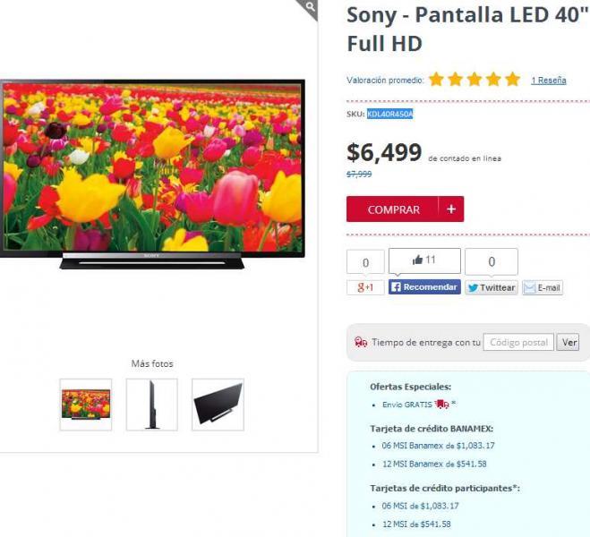 "Famsa: pantalla LED Sony de 40"" $6,499 y 12 meses sin intereses"