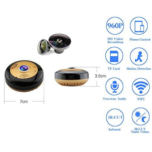 Amazon: Cámara IP 360 Grados Wifi HD 960P Detección de movimiento Visión nocturna IR Inalámbrica Cámara de seguridad doméstica Audio bidireccional Asistencia Idioma español