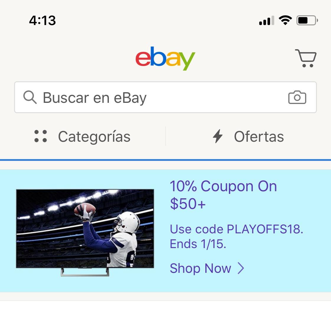Ebay: Cupón eBay 10%  en accesorios y algunos referentes a la NFL