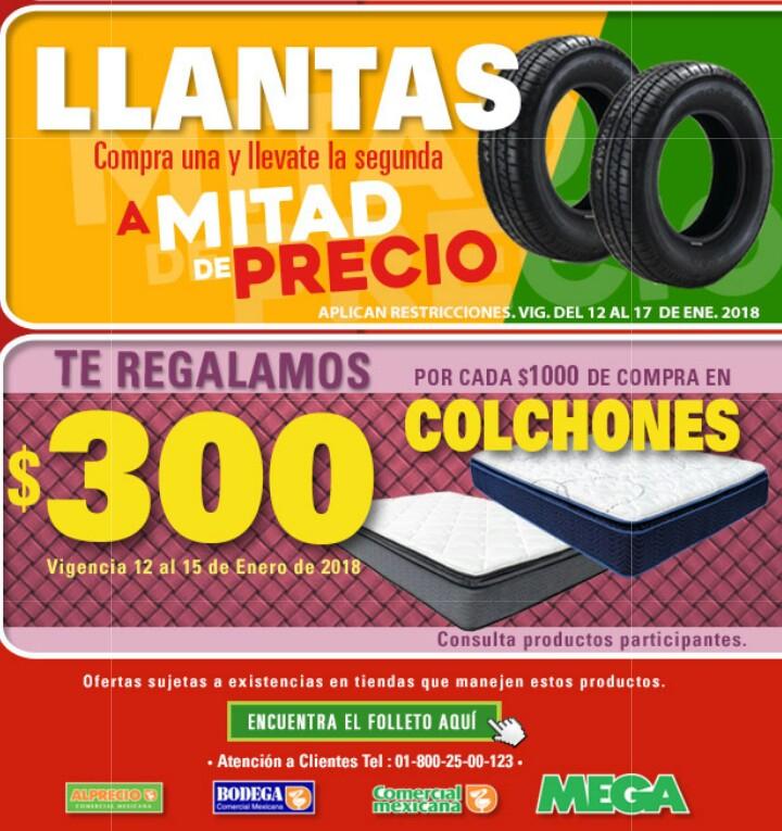 Comercial mexicana y MEGA: Ofertas de fin de semana (2x1 1/2 en llantas y $300 de descuento por cada $1,000 en colchones)