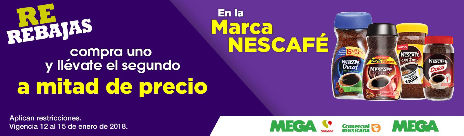 Comercial mexicana y MEGA; Soriana Hiper y Super: 2x1 1/2 en todo el Nescafé este fin de semana
