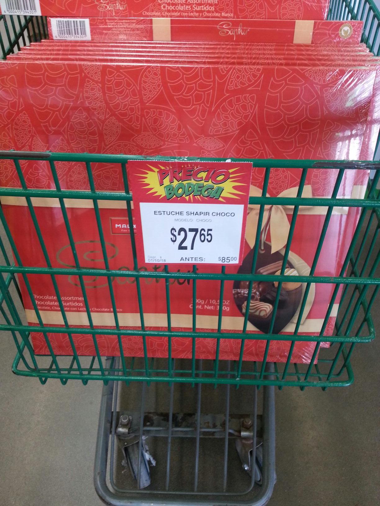 Bodega Aurrerá 3rios Culiacan: caja chocolate saphir de $ 85 a $ 27.65