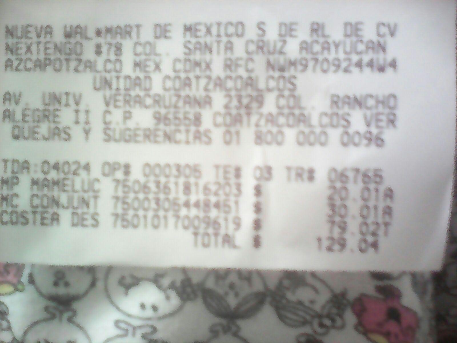 Walmart: ropa de bebe en $20.01 y $30. Despensa la costeña en $79.02