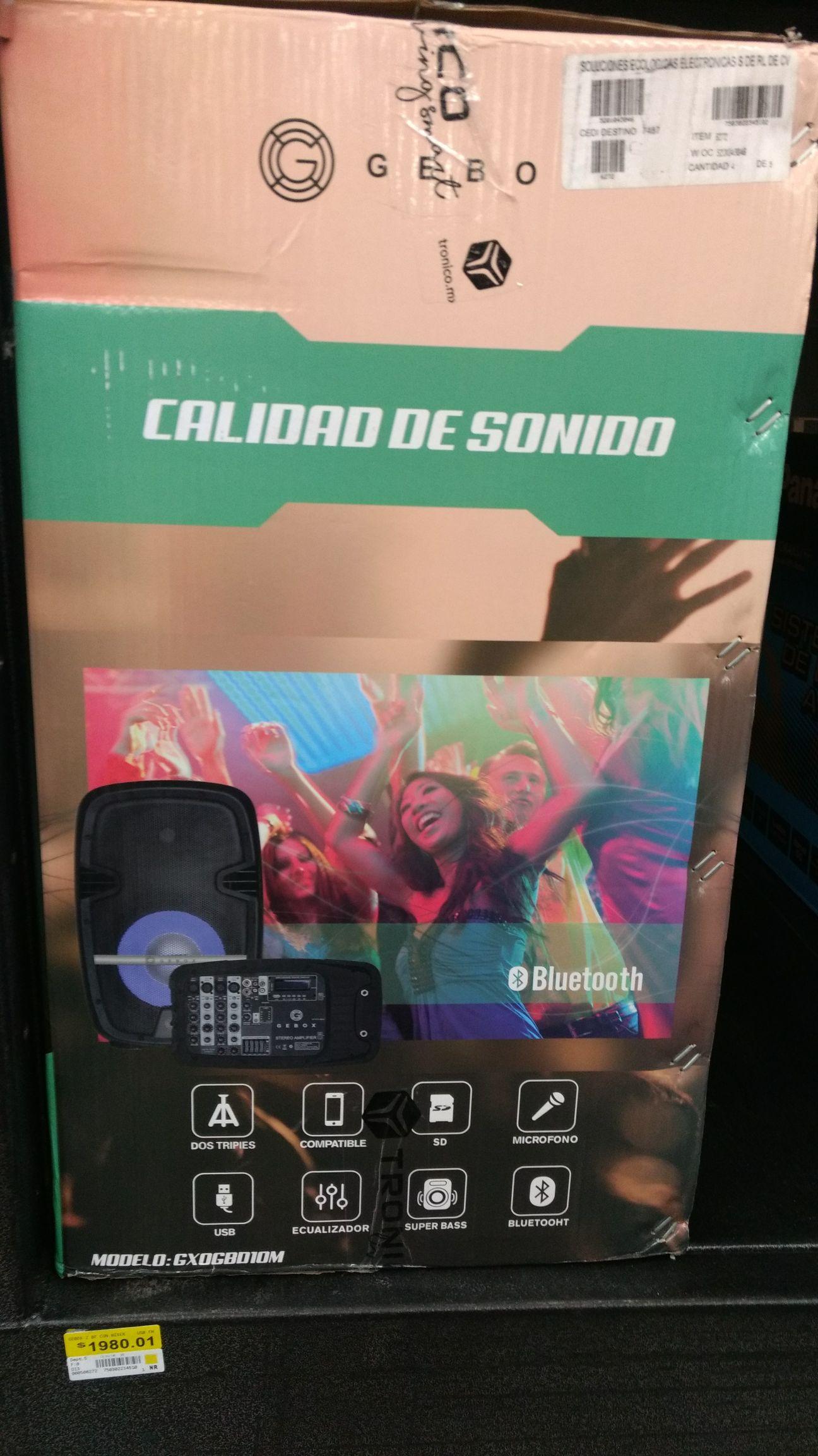 """Bodega Aurrera Doble bocina Marca Gebox 10"""" Bluetooth con micrófono."""