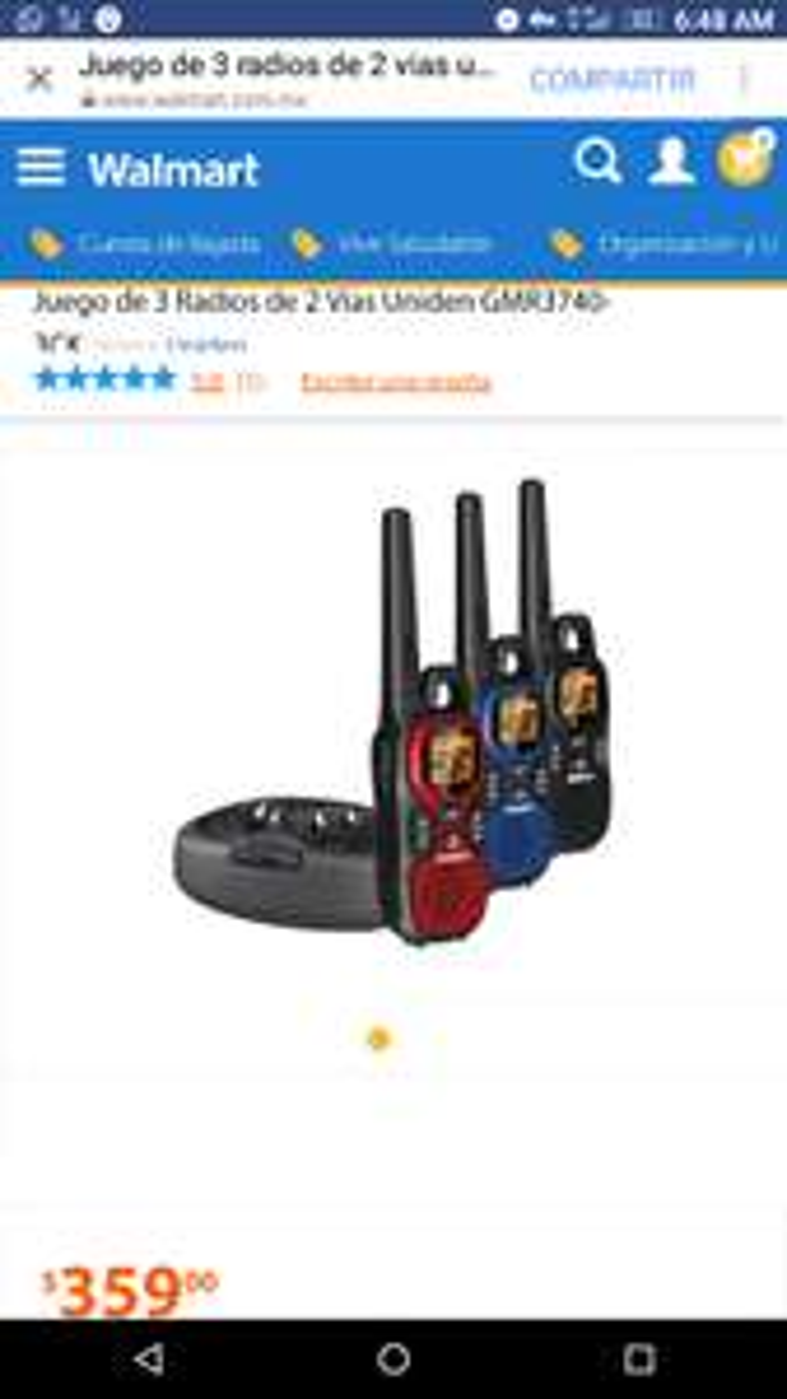 Walmart: Paquete de 3 radios,doble banda,dock de carga.